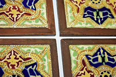 (4) Antique Vintage Ceramic Blue Green Yellow Wooden Framed Tiles California?
