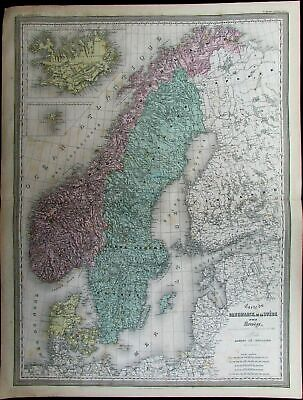 Norway Sweden Finland Denmark Iceland Scandinavia c.1865 Dufour huge antique map