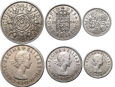 1955 Two Shillings, 1954 One Shilling & 1961 Sx Pence Three Great Britain Coins