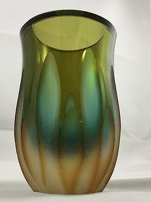 Villeroy & And Boch Jewels Cut Etched Olive Green Blown Glass Vase Candle Holder