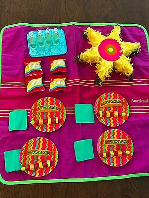 "AMERICAN GIRL DOLL Retired Fiesta Party Food Set - Complete Picnic Lot 18"" Dolls"