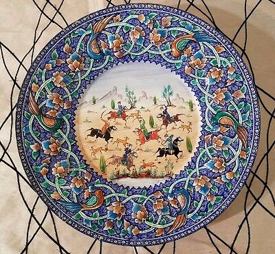 Antique PERSIAN Middle East ISLAMIC Enamel Miniature Painted Decorative Plate
