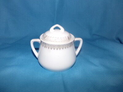 Weimar German White w Gold Design Covered Sugar Bowl Made in Germany