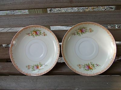 Kikusui China Japan 2 Saucers Cream & White Gold Trim 5 5/8 inch Scroll Edging