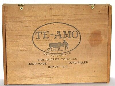 TE-AMO Wood With Hinges 25 Cigar Box San Andres Tobacco Mexico.
