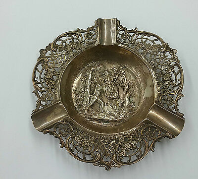 Antique German 800 Silver Repousse Dish/Astray Man & Woman Swing