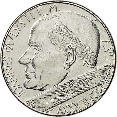 [#467391] VATICAN CITY, John Paul II, 50 Lire, 1985, Roma, AU(55-58), Stainless