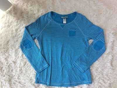 REI Girls Large (14-16) Blue Striped Long Sleeve With Elbow Patches EUC
