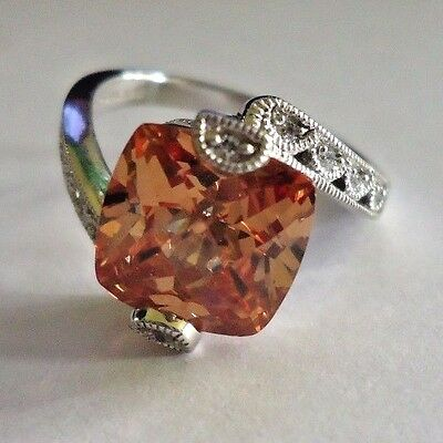 Tacori Sterling Silver Ring orange and  clear cz crossover ring Size 7.5