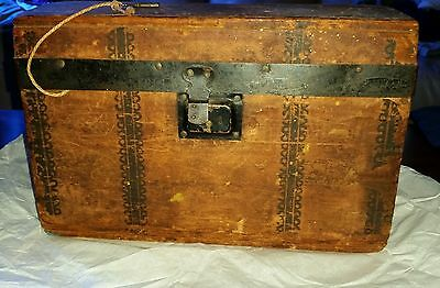 Antique 20th Century Pine Wooden Box WITH Key