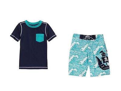 NWT Gymboree Boys Swim Shop SZ 5 6 7 8 10 12 Rash Guard Top & Pirate Trunks Swim