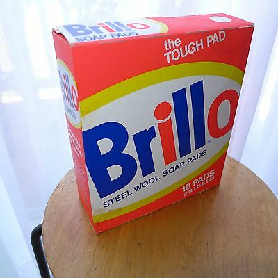 Vintage Brillo Steel Wool Soap Pads BOX RETRO KITCHEN ADVERTISING red white