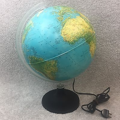 Vtg Rand McNally Lighted Globe 1982 Made in Italy Physical Political