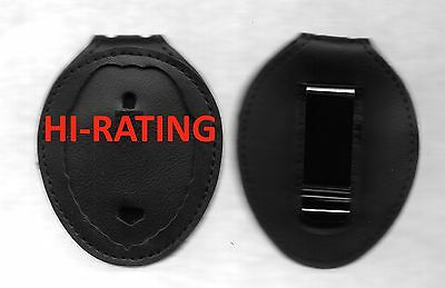 "LEATHER BADGE HOLDER  Belt Clip 30"" Chain For Concealed Weapons Permit Badge CCW"