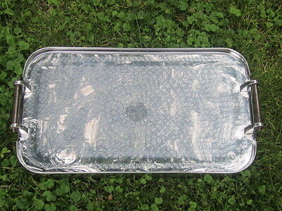 antique 1930's Art Deco Hollywood Regency Stainless Steel Chrome Serving Tray