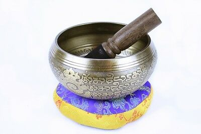 """SALE"" Singing Bowl/Stick/Cushion Machine Made Auspicious Symbols - 850g -1Kg"