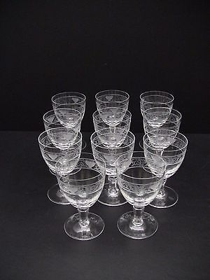 "Rosenthal Crystal FLORENTINE Wine Glasses 4 1/4"" / Set of 11 /Excellent"