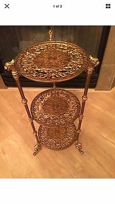 Antique Cast Brass Cherub Claw Foot 3 Tier Table Plant Stand