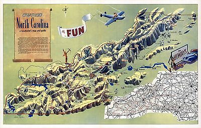 1956 PICTORIAL map Western North Carolina Vacationist's Guide POSTER 9059002