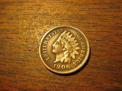 1906  Indian Head Penny Cent Better American Bronze Coin Full Liberty & Diamonds