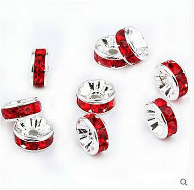 Free Shipping 50Pcs Silver Plated Red Acrylic Loose DIY Spacer Beads 8mm