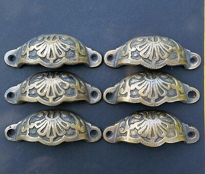 """6 Apothecary Drawer Cup Bin Pulls Handles Antique Victorian Style 3 9/16""""  #A2"""