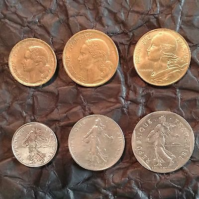 1/2, 1, 2, 10 & 20 Francs & 20 Centimes (6 French Coins )