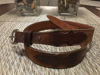 "NOCOMA Girl's Classic Western Brown Leather Belt 1"" Wide ~ Size 28"