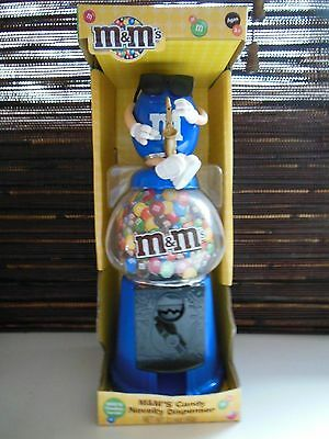 M&M M&M's Candy BLUE Dispenser and Coin Bank - Blue Playing the Sax - NIB - 2009