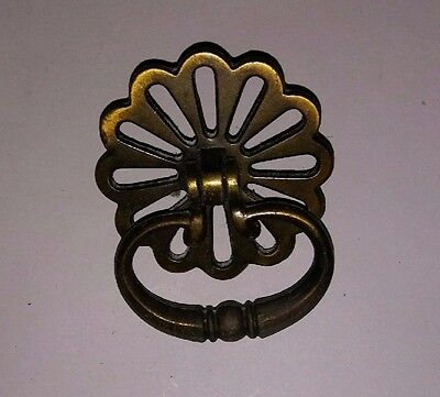 large heavy brass ornate  knocker style Drawer pull furniture hardware