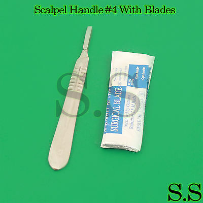 (Lot of 10) Scalpel Blades #22 with #4 Metal Handle Suitable for Dermaplaning
