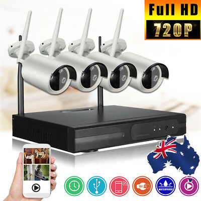 AU 720P P2P WIFI CCTV HD 4CH Wireless NVR Surveillance Security Camera Recorder