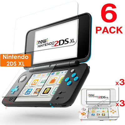 6 x Clear LCD Screen Protector Guards with Cloth for Nintendo 2DS XL Console