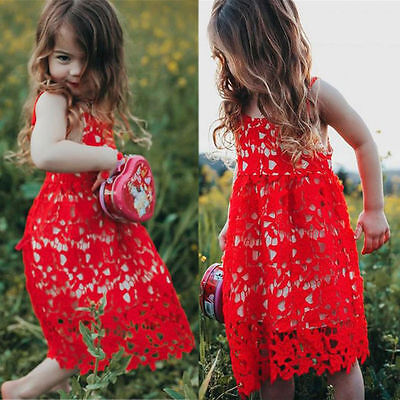 Toddler Baby Kids Girls Summer Hollow Out Red Lace Dress Pageant Party Prom Gown