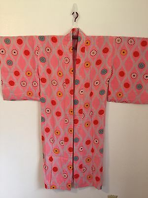 Girl's/Petite Women's Pink Kiku Chrysanthemum Cotton Yukata