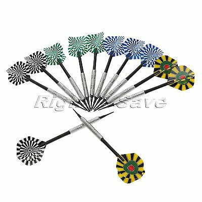 12Pcs Standard Shape Darts Flights with 50pcs Extra Soft Plastic Tips Play Game