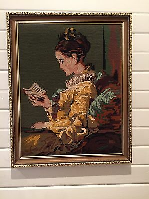 Gold Framed Tapestry - Lady Reading