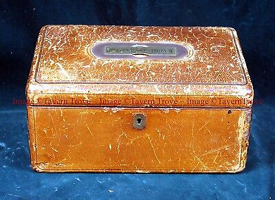 Dated 1874 Peter Coats leather mahogany personal box with articulated handle