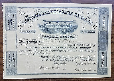 CHESAPEAKE & DELAWARE CANAL Co. Stock Certificate - 1908 - Beautiful!