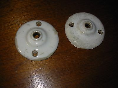 2 Antique Porcelain Hanging Light Fixtures - Unrestored & As-found Condition