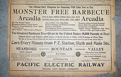 1909 L.A. Newspaper Page - Elks Monster BBQ Arcadia Pacific Electric Railway