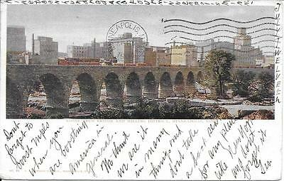 Stone Arch Bridge Milling District Minneapolis MN vintage postally used in 1904