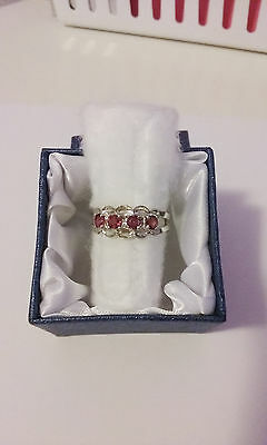 Sterling Silver Natural Pink Ruby 4 Stone Ring, size 8
