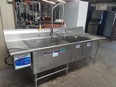 "Power Soak PS-200 - 96"" Power Agitating 3 Compartment Sink With Prespray Faucet"