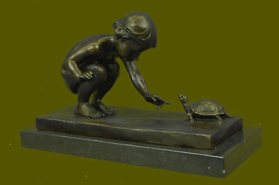 Handcrafted Collectible Nude Baby with Turtle Bronze Sculpture Marble Figurine