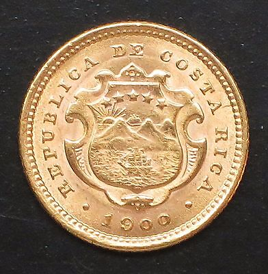 "1900 Costa Rica - 2 (Dos ) Colones Gold Coin.  ""MS"" Uncirculated -   KM#:139"