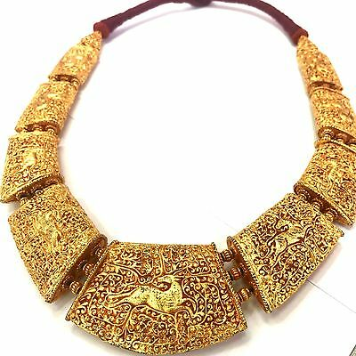 Very beautiful Old Medieval Gold Gilding Deer necklace