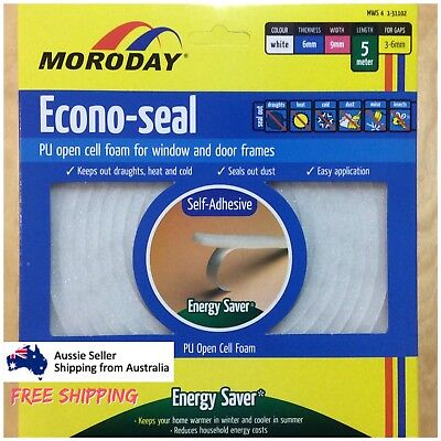 5m Door Window Seal Keep Out Draught Wind Cold Heat Dust Noise Self Adhesive