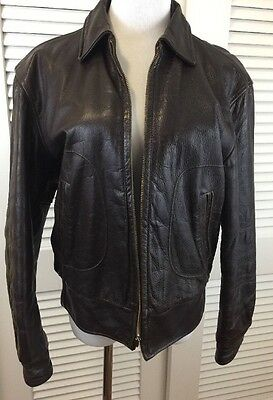 Vtg 1950s  Leather Motorcycle Jacket Oakbrook Sportswear Brown 38 Bomber Zip