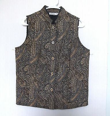 Units Size S Button Front Black Brown Tan Beige Paisley Lined Vest, sleeveless